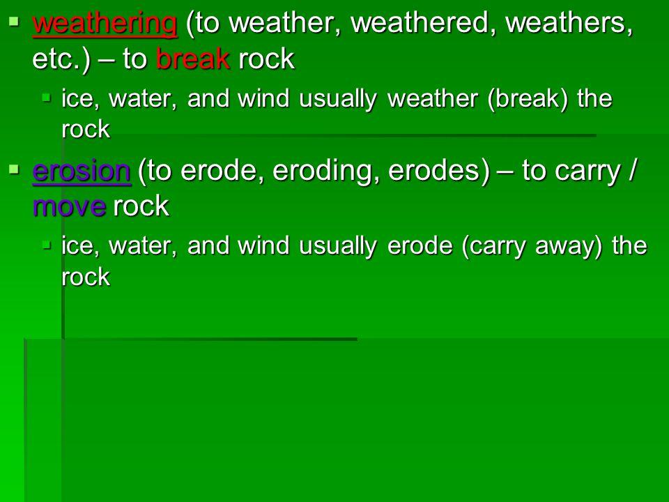 weathering (to weather, weathered, weathers, etc.) – to break rock