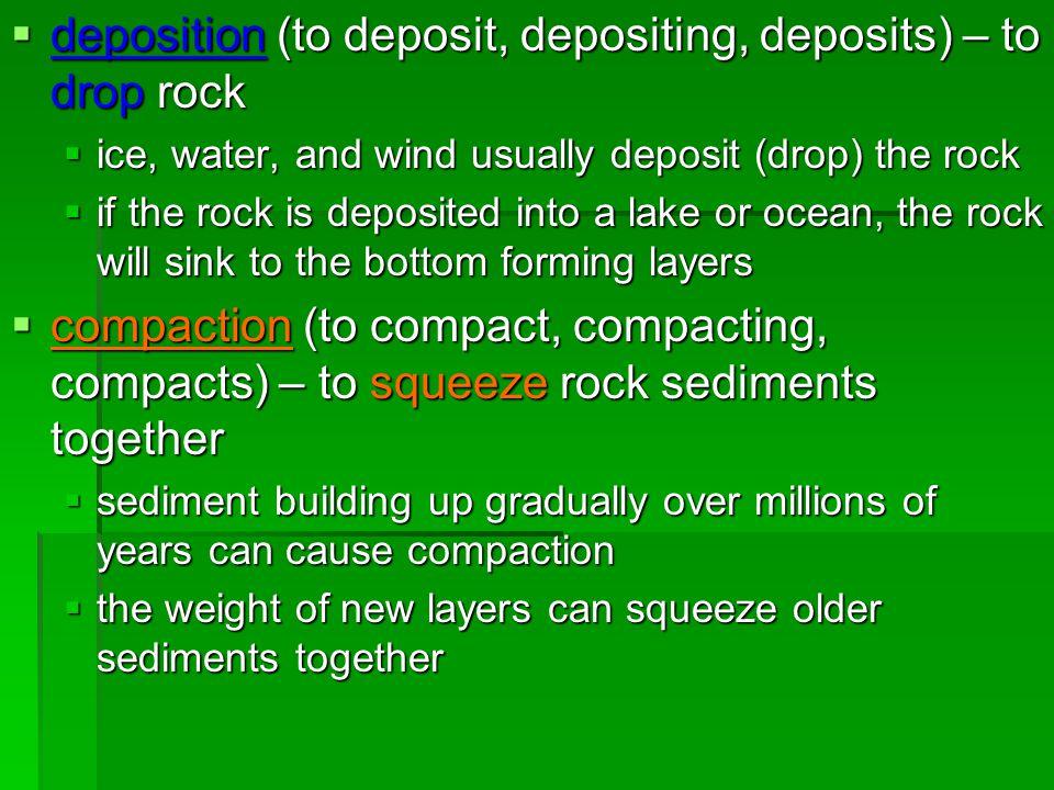 deposition (to deposit, depositing, deposits) – to drop rock