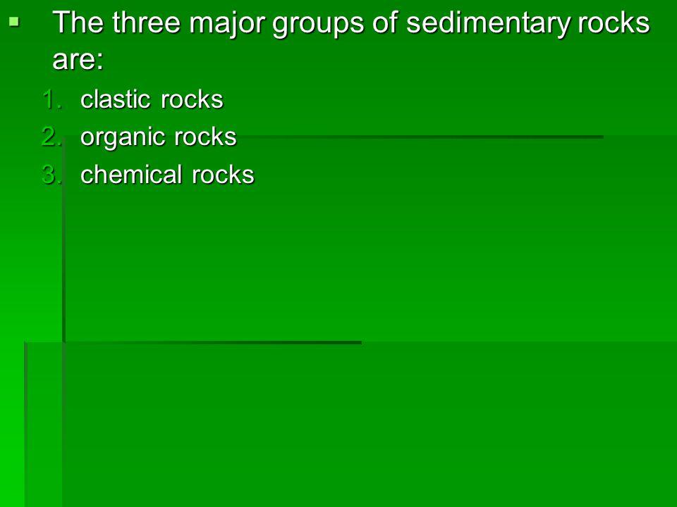 The three major groups of sedimentary rocks are:
