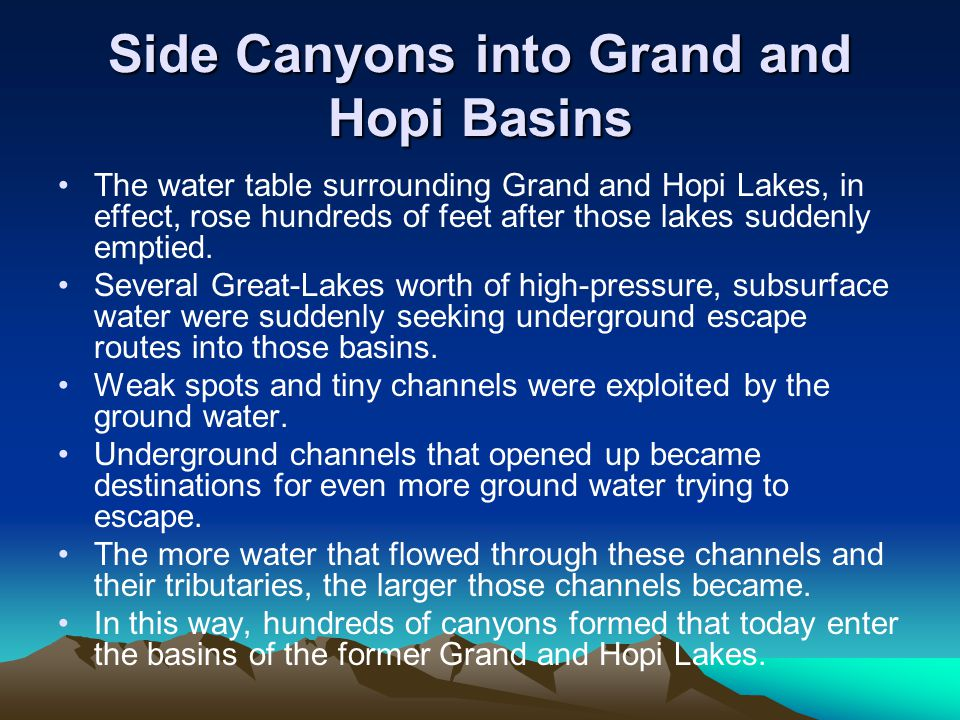 Side Canyons into Grand and Hopi Basins