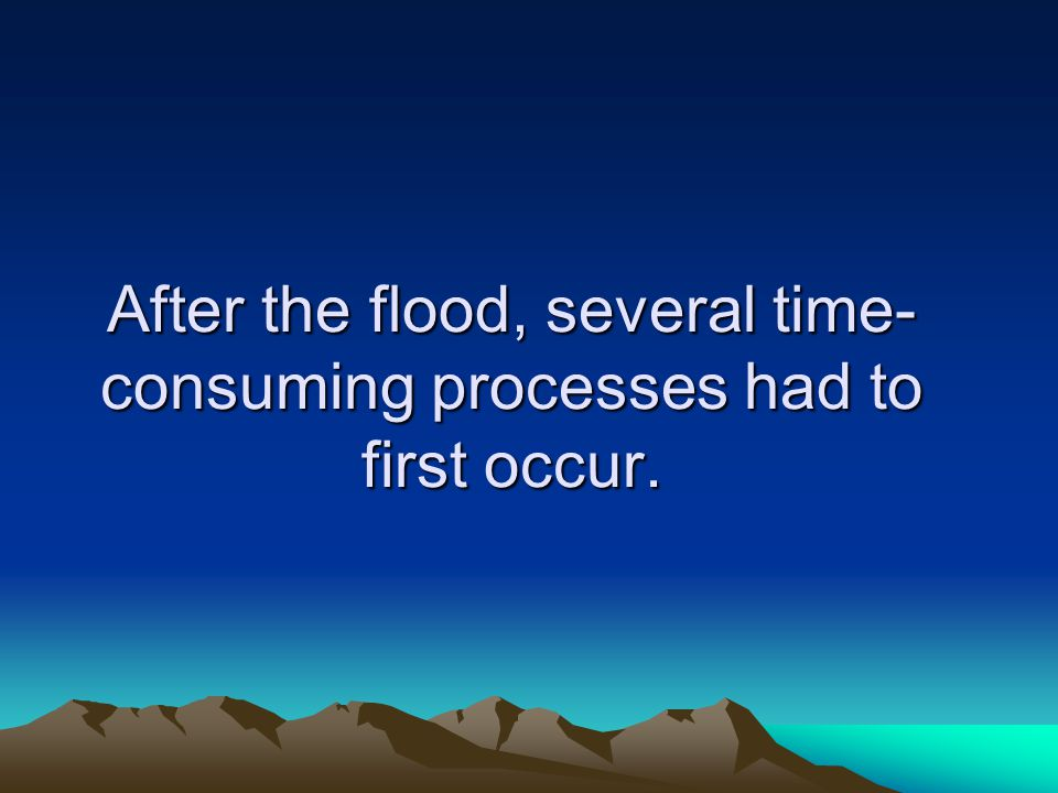 After the flood, several time-consuming processes had to first occur.