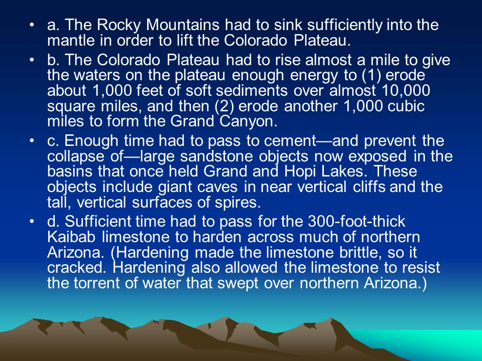 a. The Rocky Mountains had to sink sufficiently into the mantle in order to lift the Colorado Plateau.