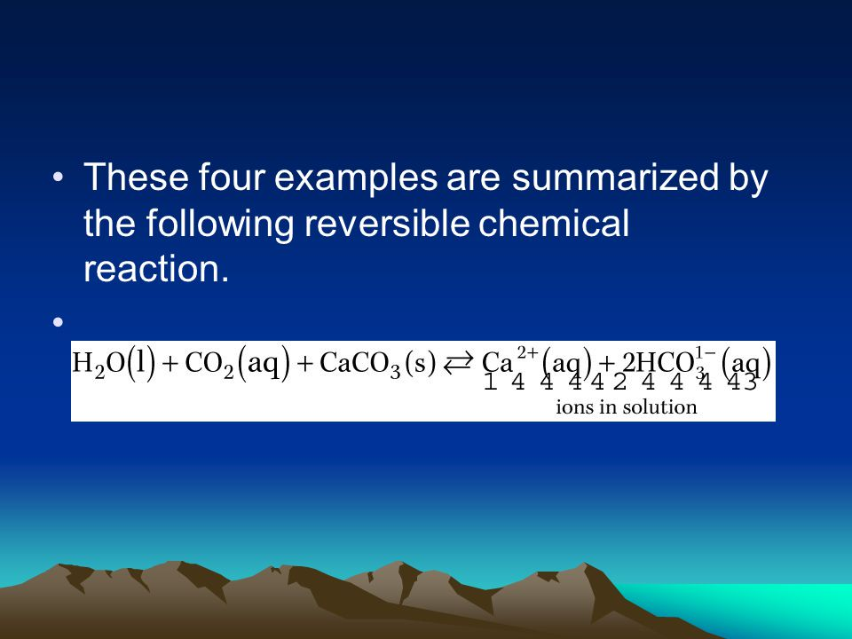 These four examples are summarized by the following reversible chemical reaction.