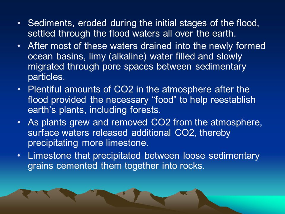 Sediments, eroded during the initial stages of the flood, settled through the flood waters all over the earth.