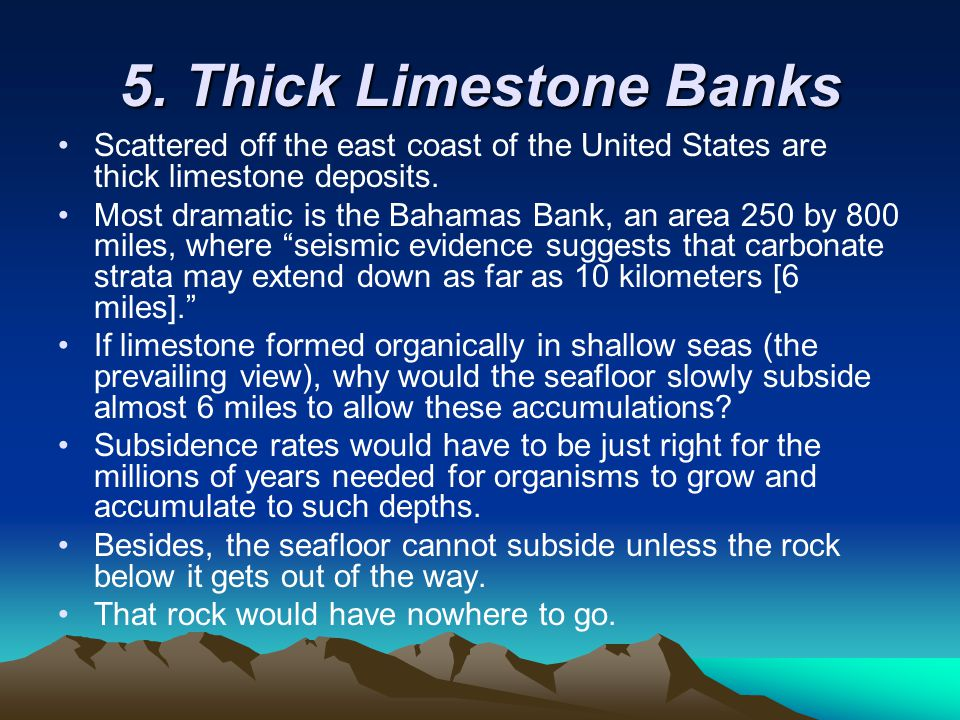 5. Thick Limestone Banks Scattered off the east coast of the United States are thick limestone deposits.