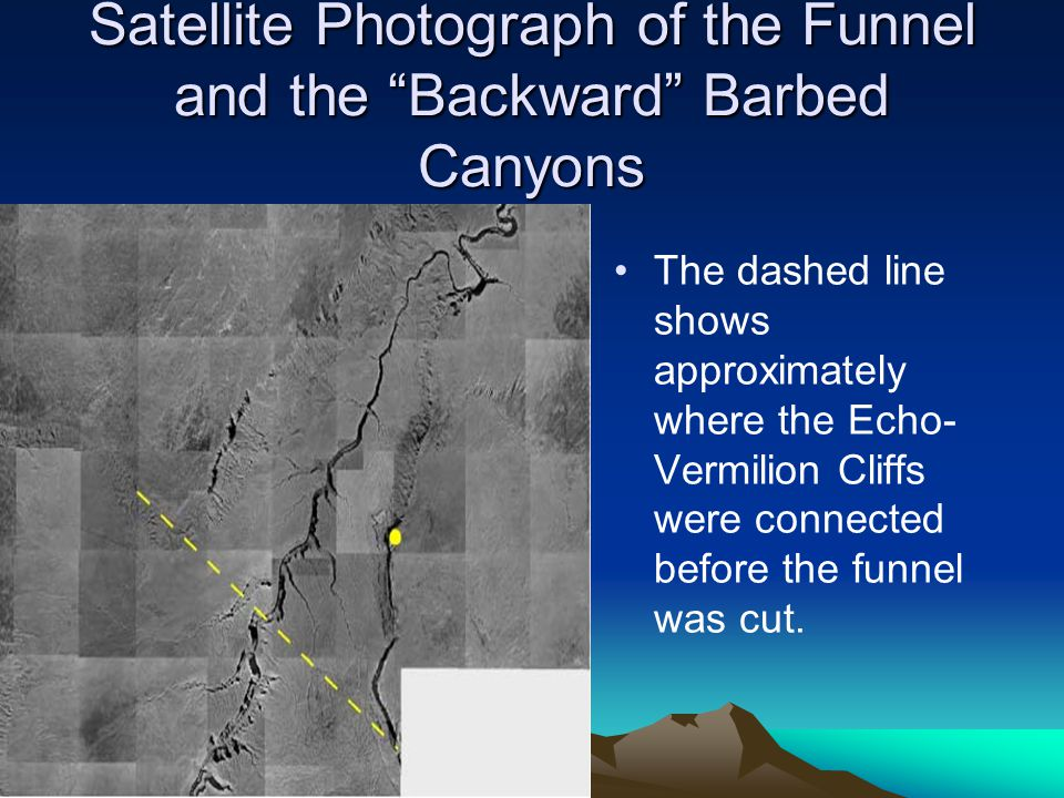 Satellite Photograph of the Funnel and the Backward Barbed Canyons