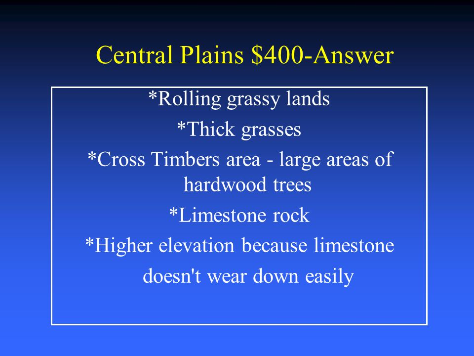 Central Plains $400-Answer