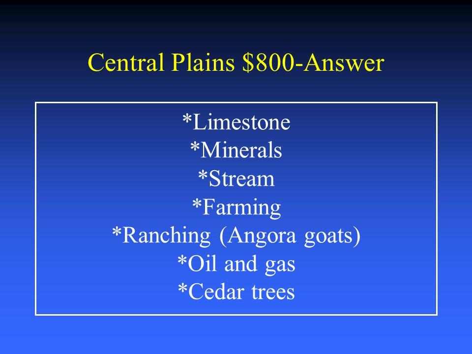 Central Plains $800-Answer