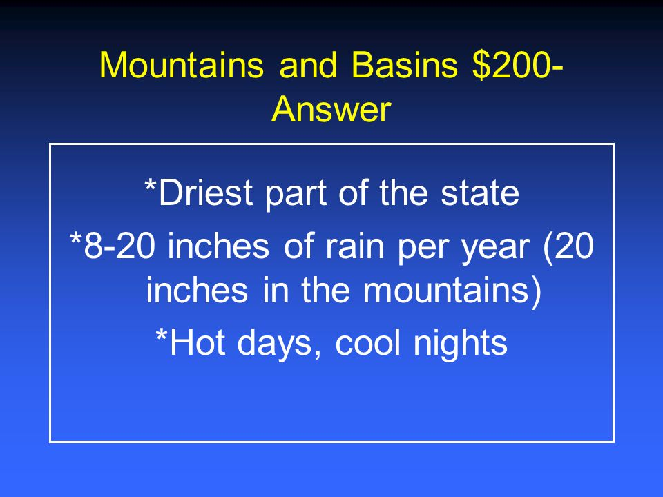 Mountains and Basins $200-Answer