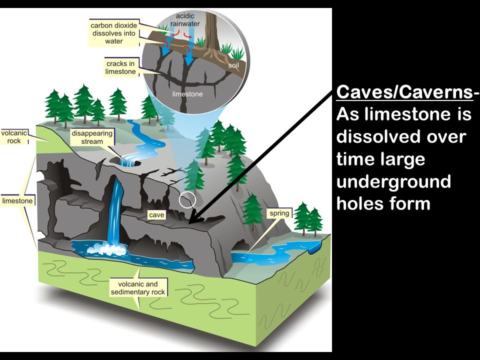 Caves/Caverns- As limestone is dissolved over time large underground holes form