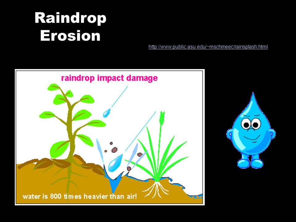 Raindrop Erosion http://www.public.asu.edu/~mschmeec/rainsplash.html