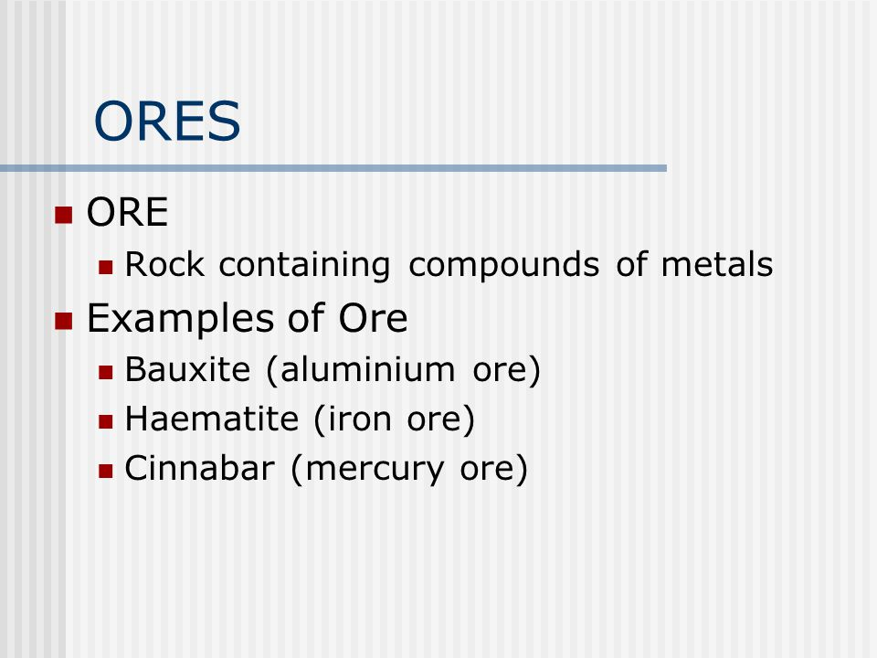 ORES ORE Examples of Ore Rock containing compounds of metals