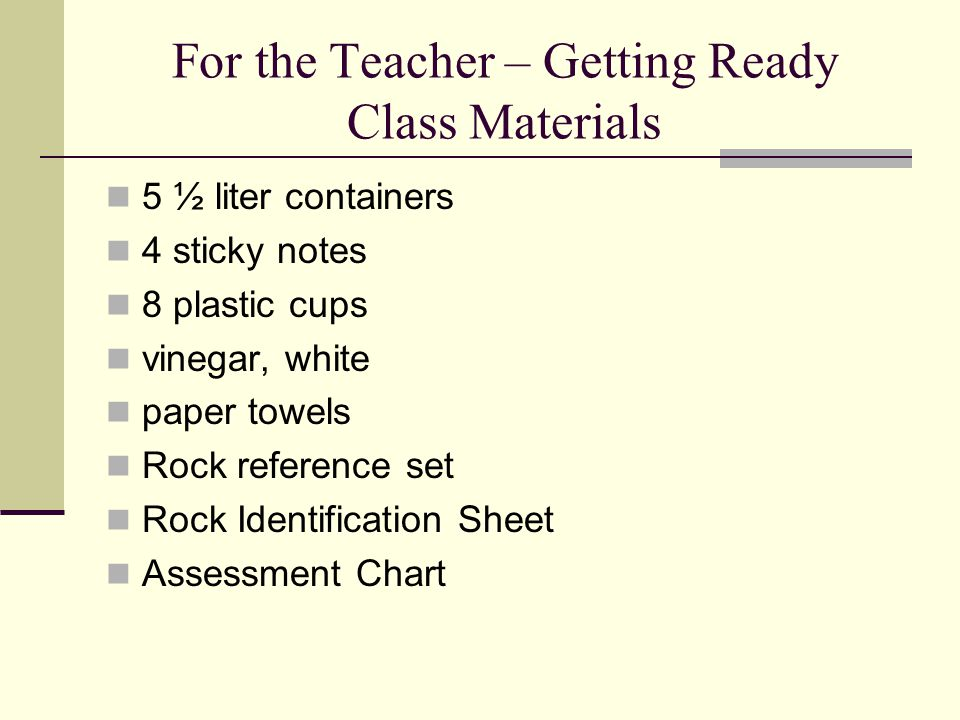 For the Teacher – Getting Ready Class Materials