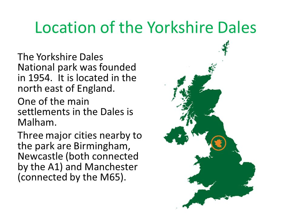 Location of the Yorkshire Dales