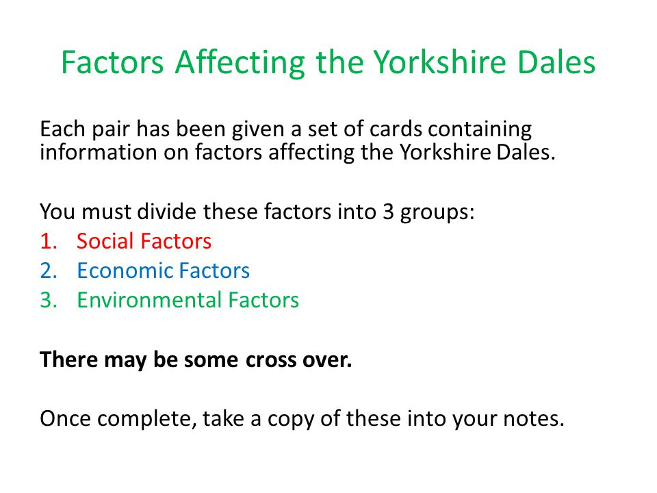 Factors Affecting the Yorkshire Dales