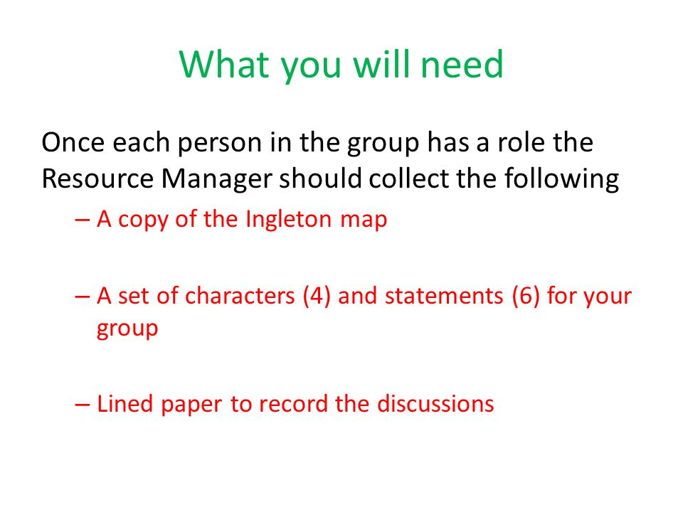What you will need Once each person in the group has a role the Resource Manager should collect the following.
