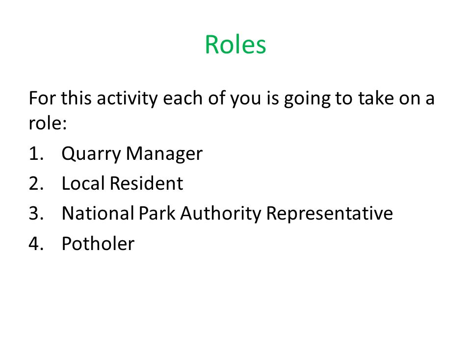 Roles For this activity each of you is going to take on a role: