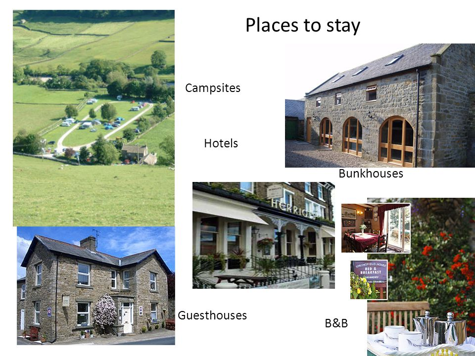 Places to stay Campsites Hotels Bunkhouses Guesthouses B&B