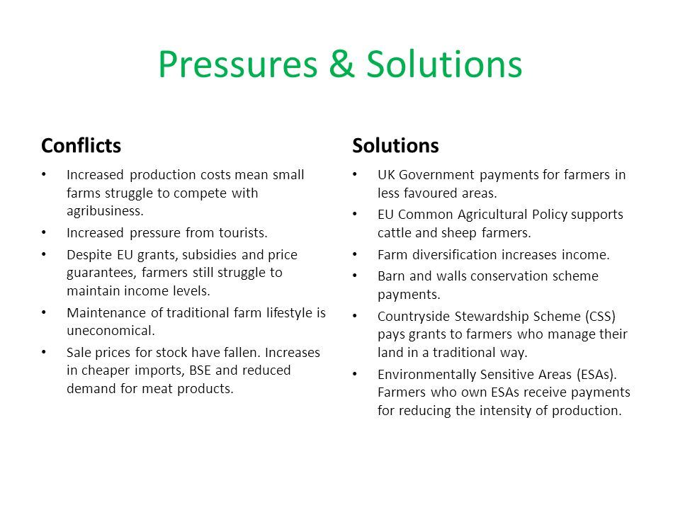 Pressures & Solutions Conflicts Solutions