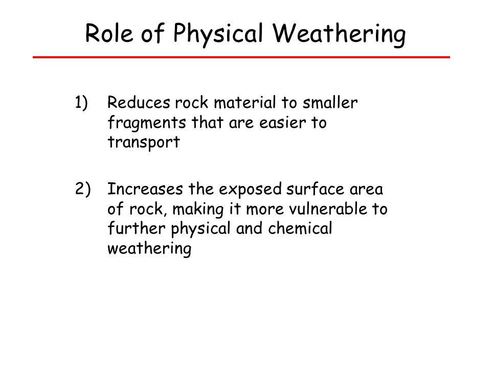 Role of Physical Weathering