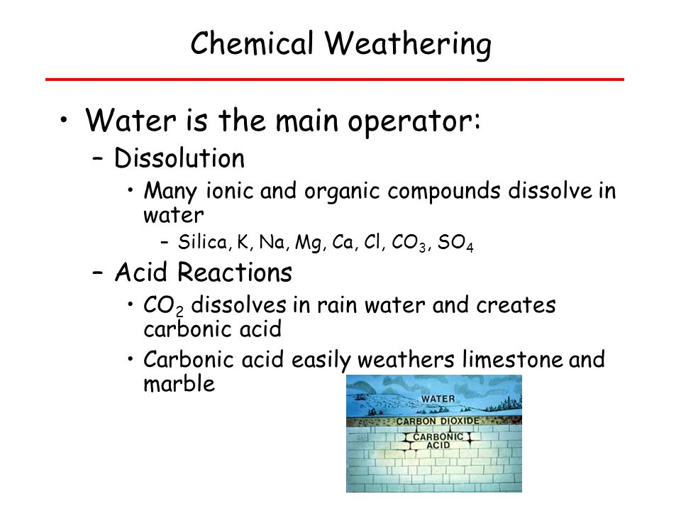 Water is the main operator: