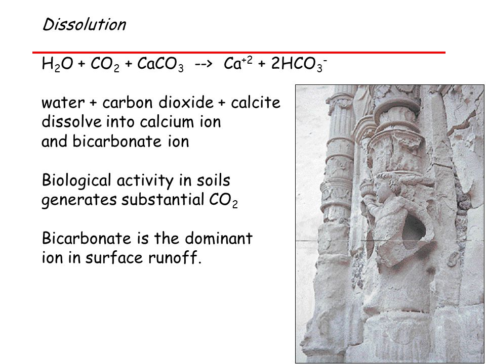 Dissolution H2O + CO2 + CaCO3 --> Ca+2 + 2HCO3- water + carbon dioxide + calcite. dissolve into calcium ion.