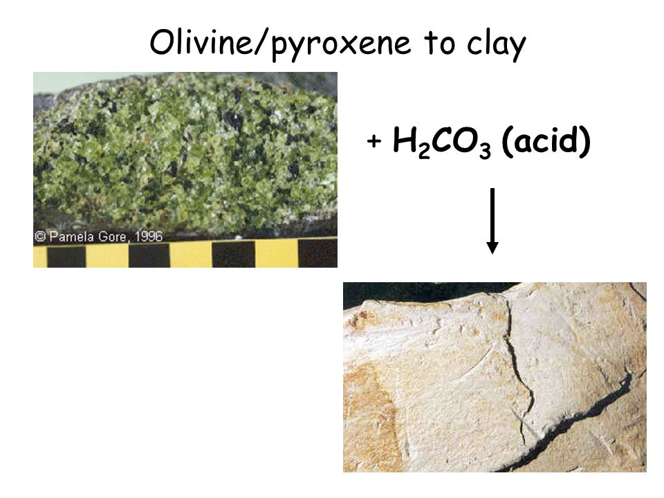 Olivine/pyroxene to clay