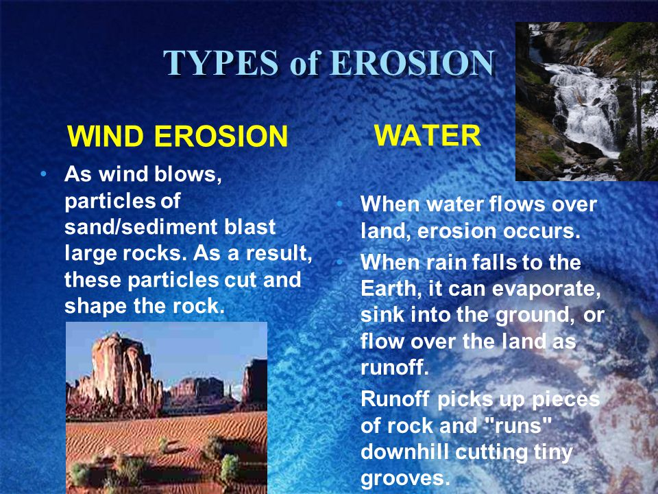TYPES of EROSION WIND EROSION WATER