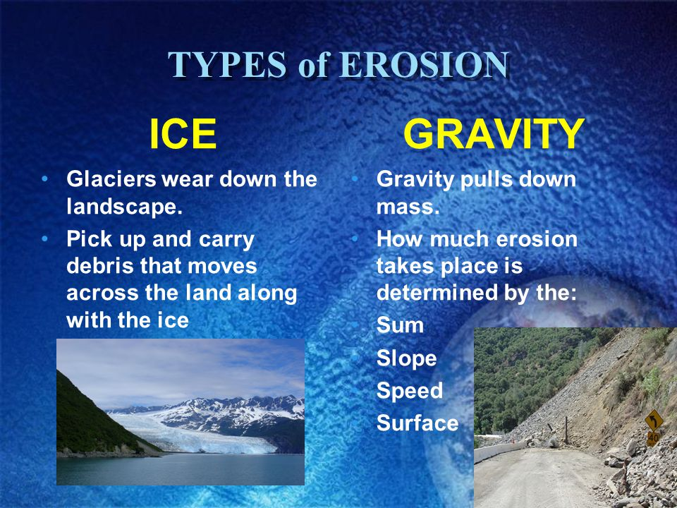 ICE GRAVITY TYPES of EROSION Glaciers wear down the landscape.