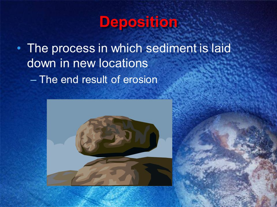 Deposition The process in which sediment is laid down in new locations