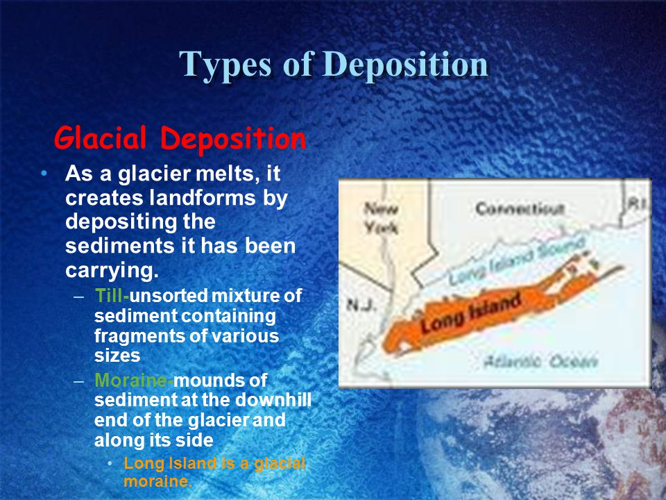 Types of Deposition Glacial Deposition