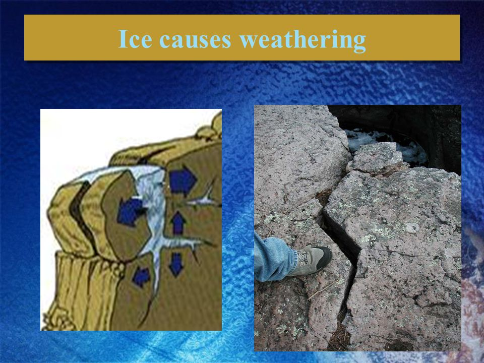 Ice causes weathering