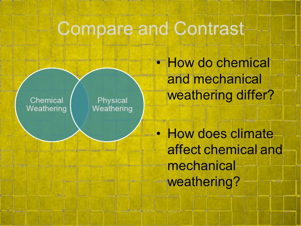 Compare and Contrast How do chemical and mechanical weathering differ