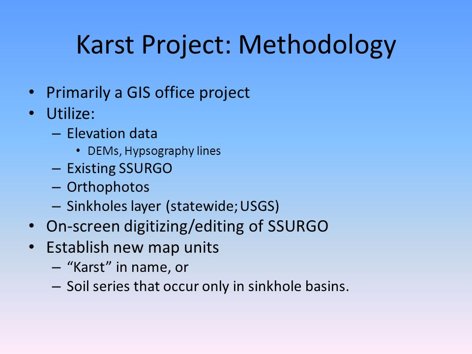 Karst Project: Methodology