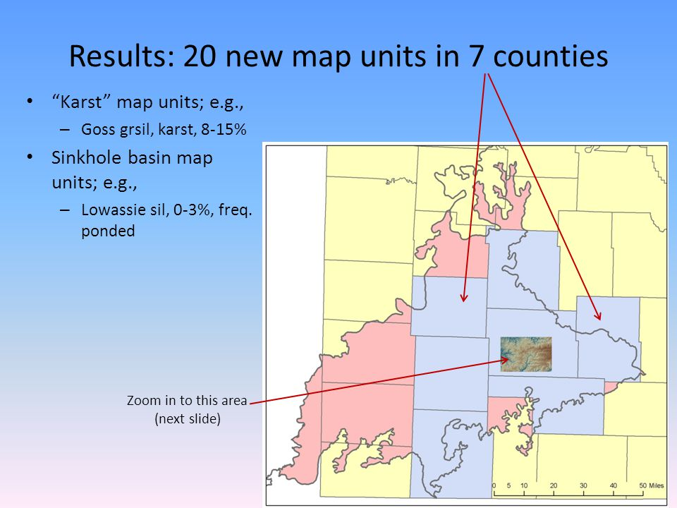 Results: 20 new map units in 7 counties