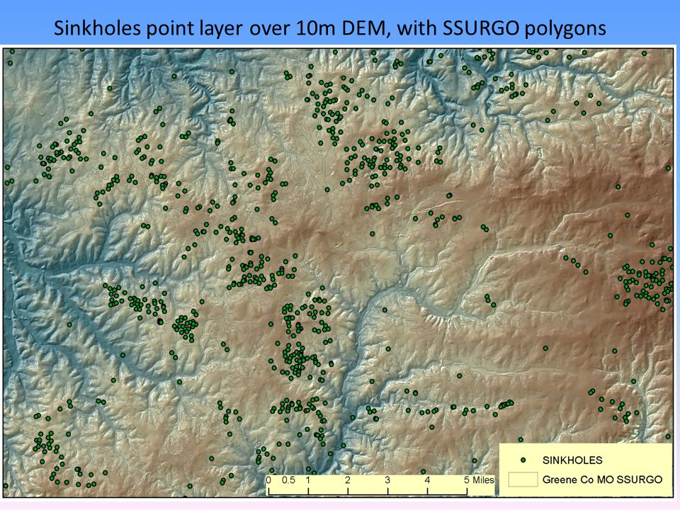 Sinkholes point layer over 10m DEM, with SSURGO polygons
