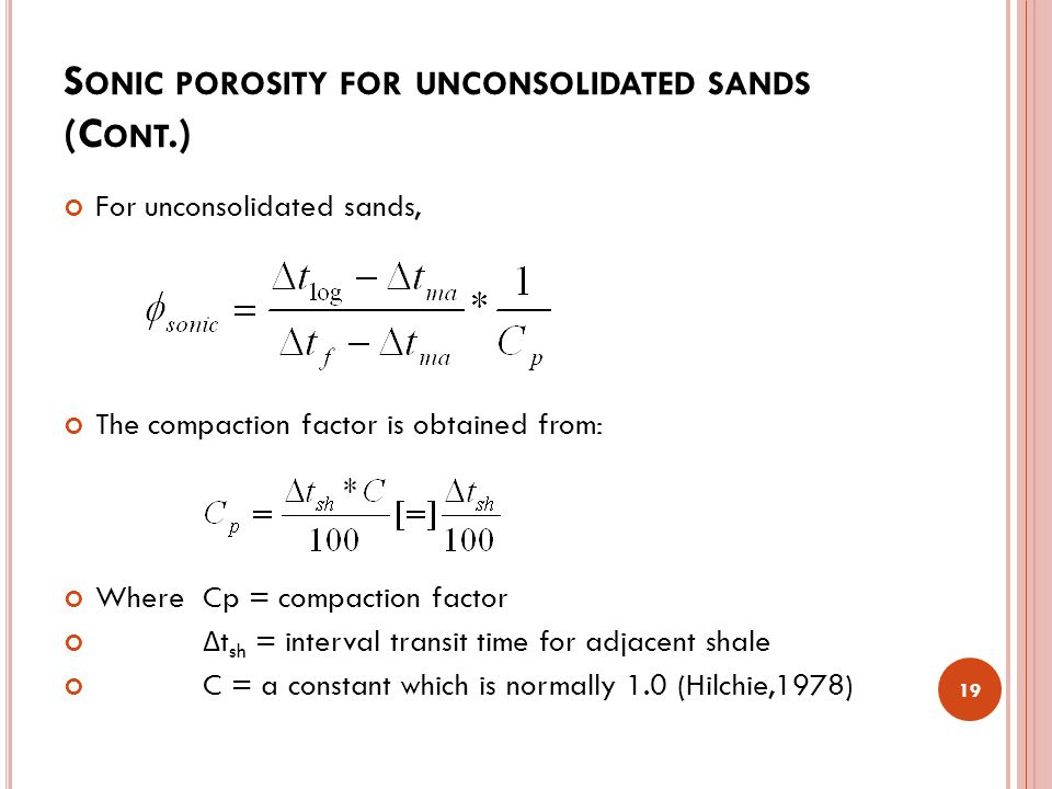 Sonic porosity for unconsolidated sands (Cont.)