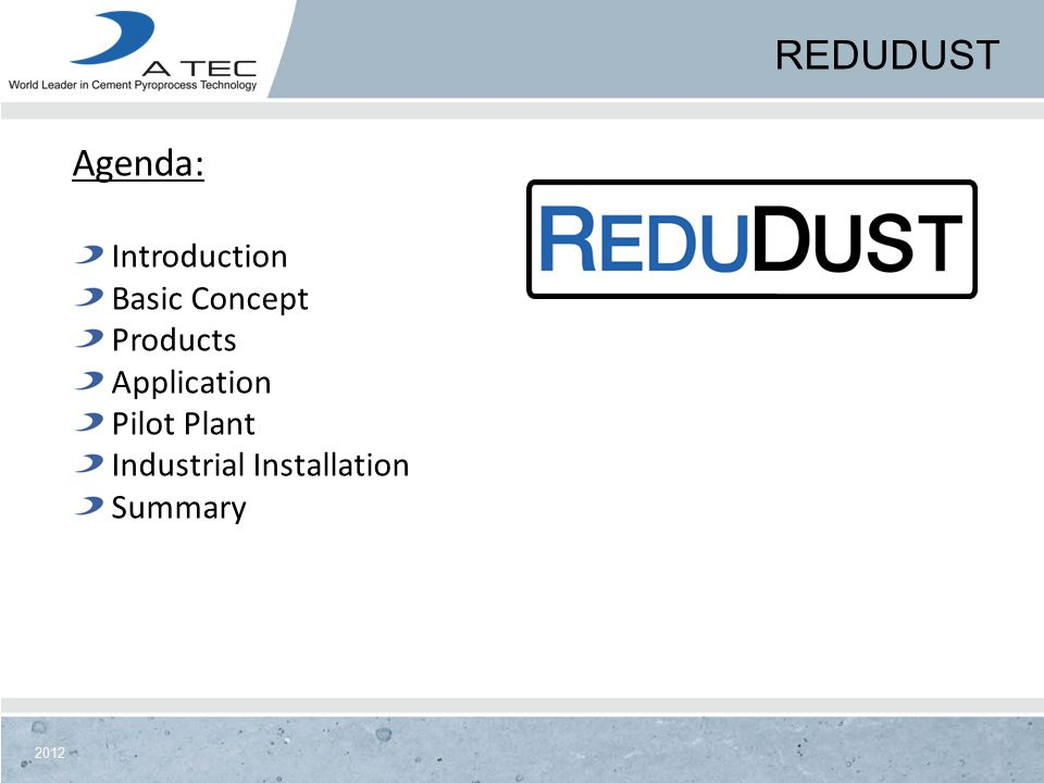 Redudust Agenda: Introduction Basic Concept Products Application