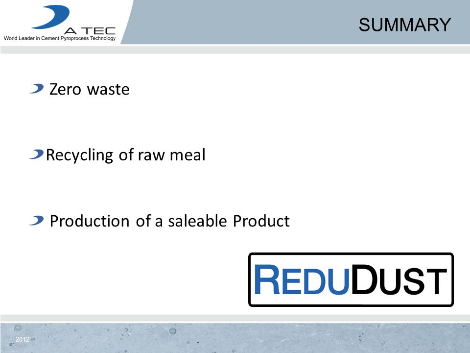 Summary Zero waste Recycling of raw meal Production of a saleable Product