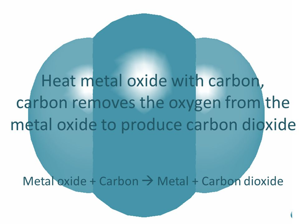 Heat metal oxide with carbon,