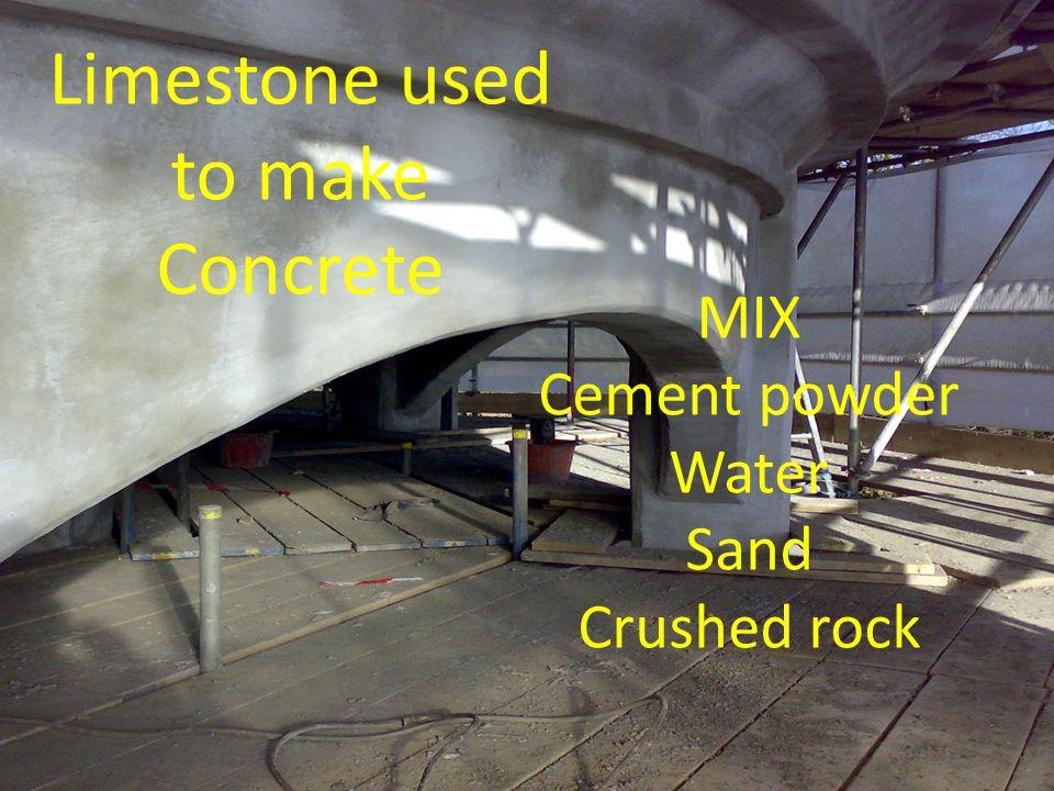 Limestone used to make Concrete
