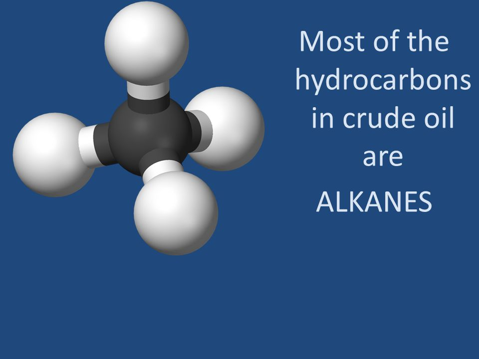Most of the hydrocarbons in crude oil are ALKANES