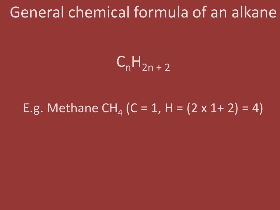 General chemical formula of an alkane CnH2n + 2