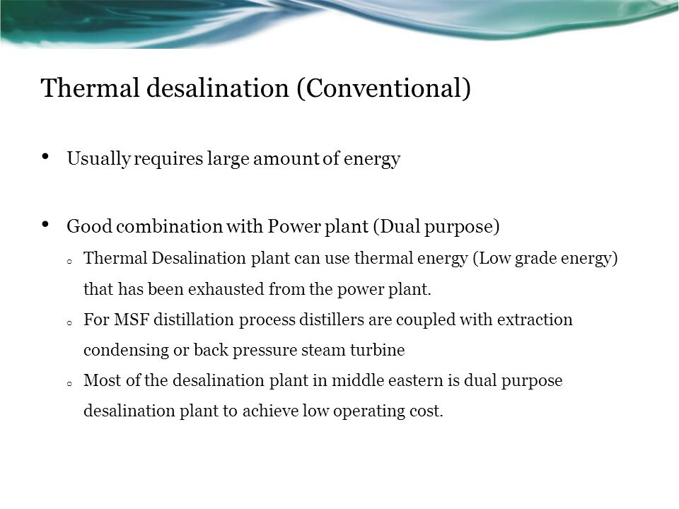 Thermal desalination (Conventional)