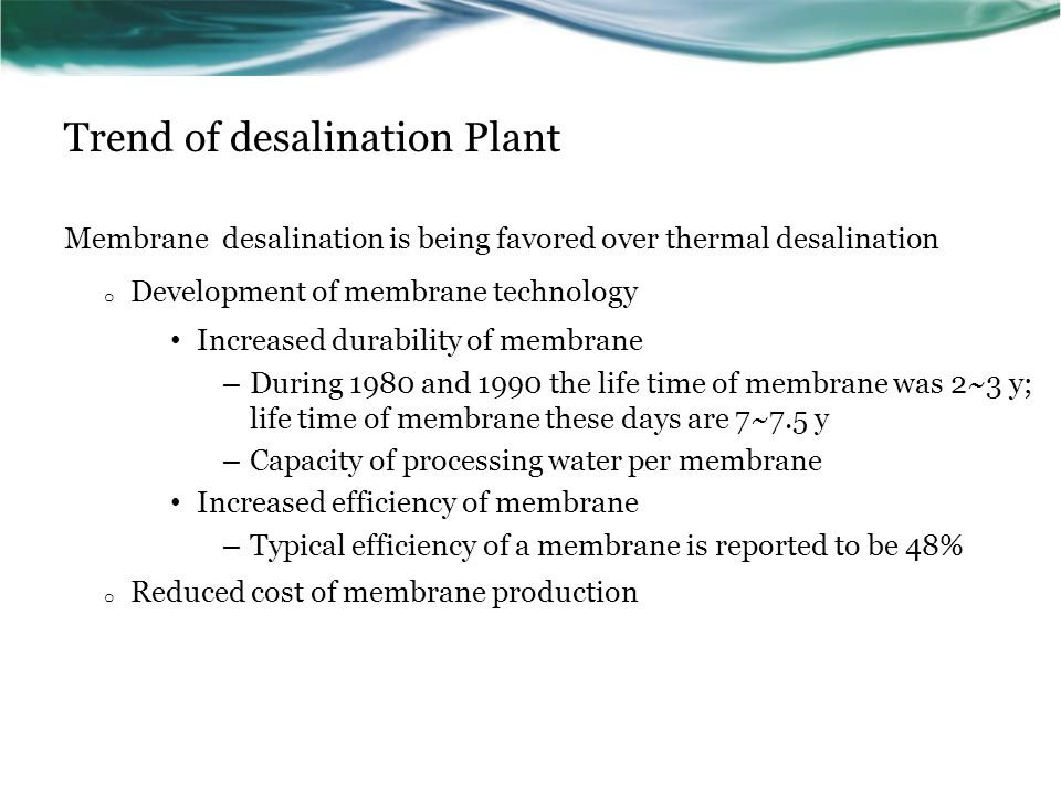 Trend of desalination Plant
