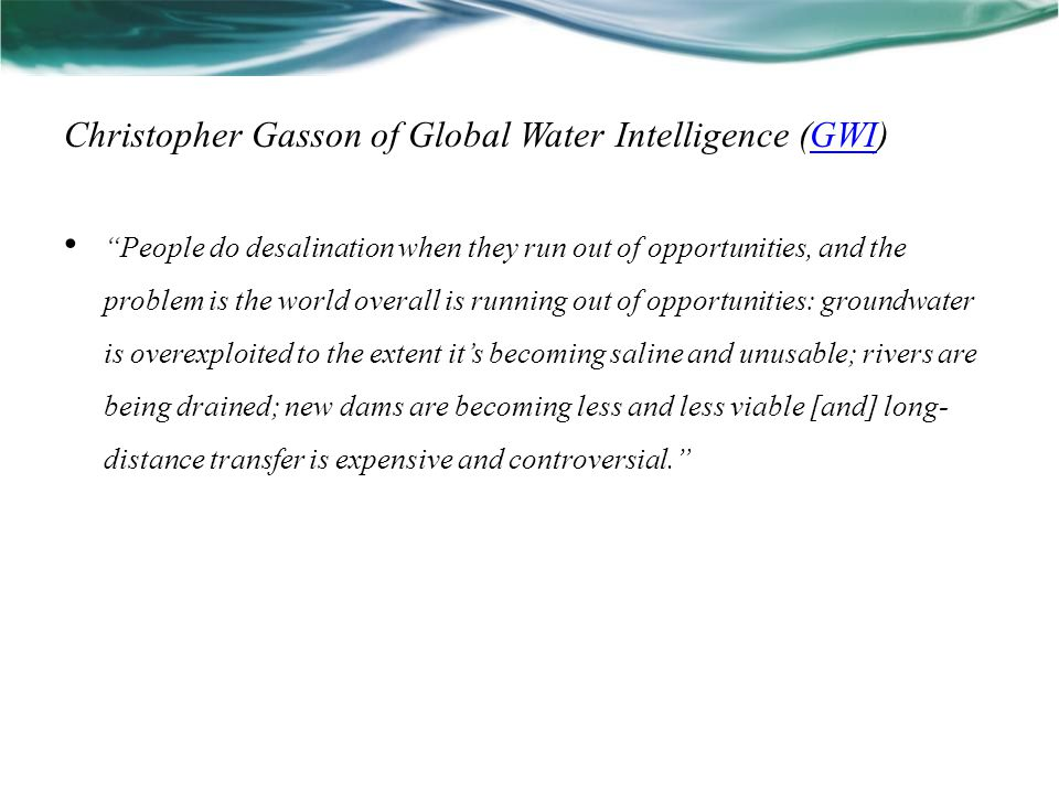 Christopher Gasson of Global Water Intelligence (GWI)
