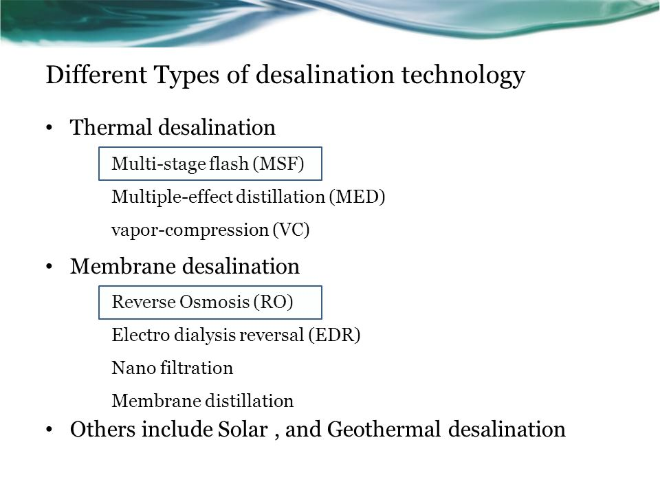 Different Types of desalination technology