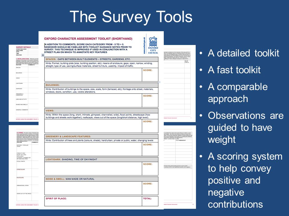 The Survey Tools A detailed toolkit A fast toolkit