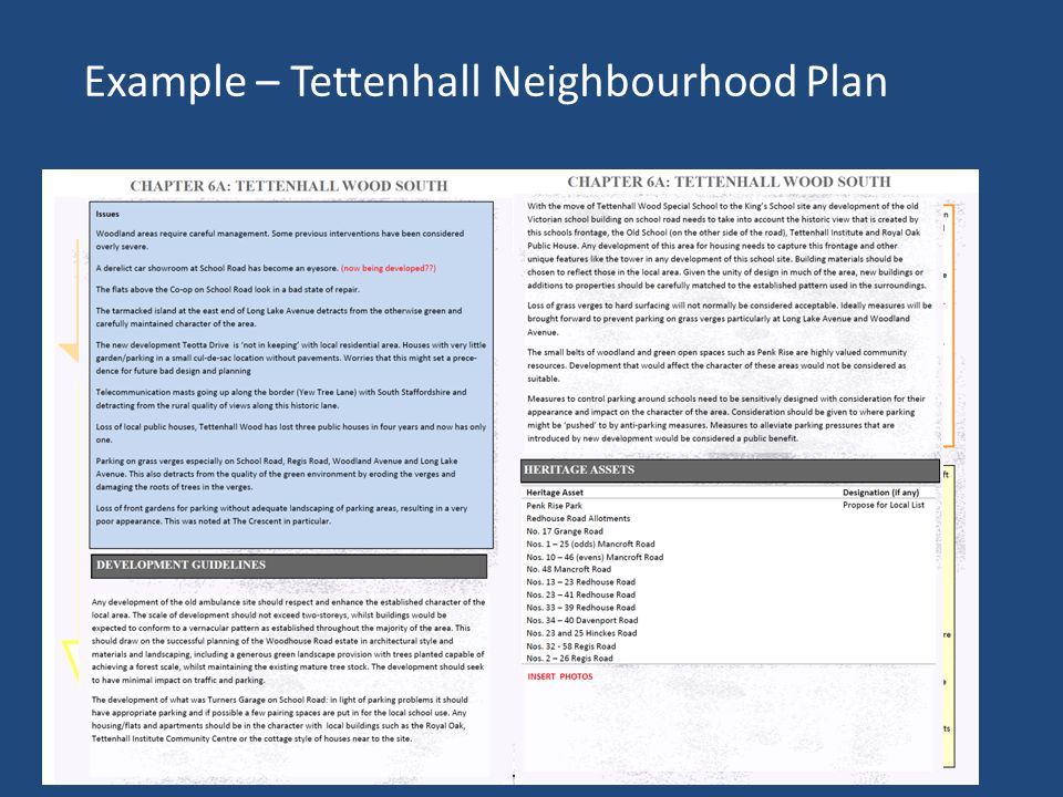 Example – Tettenhall Neighbourhood Plan