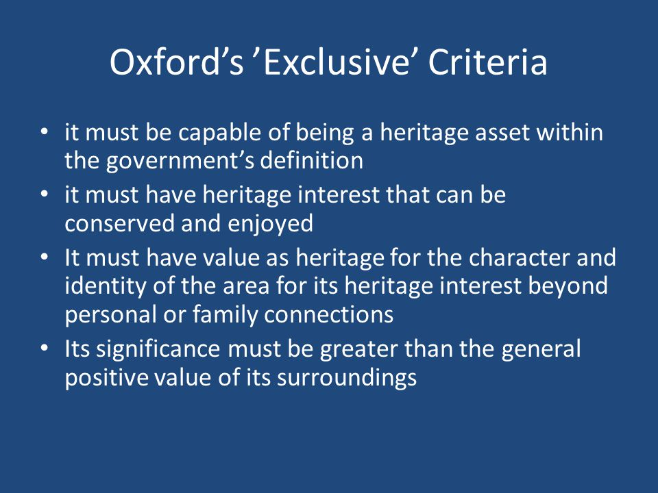 Oxford's 'Exclusive' Criteria